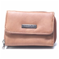 Cowhide Zip Round Purse Assorted Colours