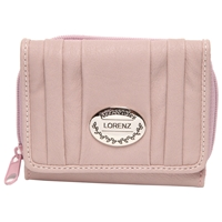 PU Pleated Zip Round Purse With Flap - Assorted Colours