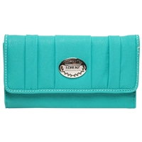 PU Pleated Part Zip Round Purse With Flap - Asst Colours