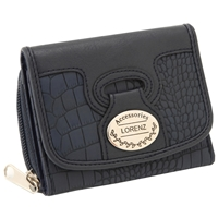PU Croc Effect Zip Round Purse With Flap - Assorted Colours
