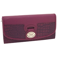 PU Croc Effect Concertina Purse With Flap - Asst Colours