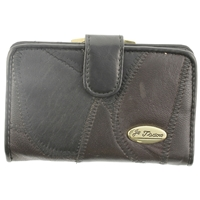 Leather Patch Clasp Purse With Tab.Back Pass Window.Asst Cols