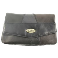 Leather Patch Fold Over Purse Large Pocket. Assorted Colours