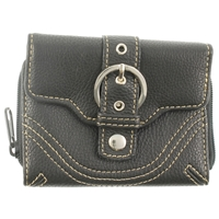 Buckle Detail Zip Round Purse Inc Back Pass Window.Asst Cols