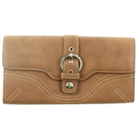Buckle Detail Long Flap Over Purse. Assorted Colours