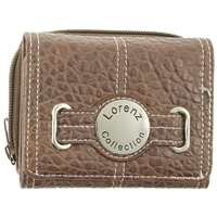 Textured Grain Zip Round Purse Inc Back Pass Window.Asst Cols