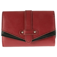 Two Tone Zip Purse With Flap Assorted Colours