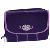 Grained PU Double Zip Round Purse. Assortet Colours