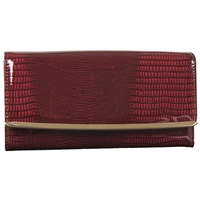 Patent PU Purse With Flap and Metal detail. Asst Colours