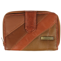 Leather Patch 14cm Purse Tab double Zip Round. 2 Inner Windows,