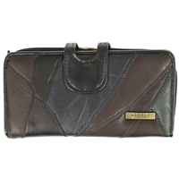 Leather Patch Purse With Tab & Clasp Top, Inner Window
