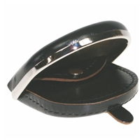 Gents Leather Tray Purse With Metal Rim