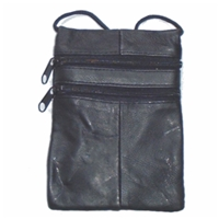 Soft Nappa Leather Triple Zip Neck Purse