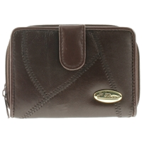 Leather Patch 14cm Purse Tab Zip Round. 3 Inner Windows,