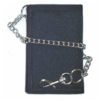 Trifold Velcro Wallet With 12 Inch Chain Assorted Colour