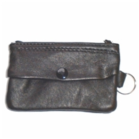 Black Lambskin Key Case With Key Ring, Outer Pocket