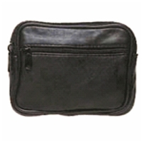 Black Gents Lambskin Pouch With Belt Loop Zip Pockets