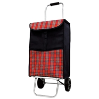 Balmoral 2 Wheel Shopping Trolley, Red With Tartan