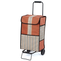 Highgrove 2 Wheel Shopping Trolley, Tan With Gingham