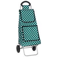 Windsor 2 Wheel Shopping Trolley, Green With White Spot