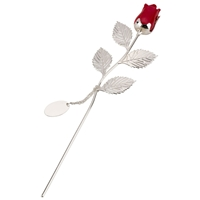 Silver Plated Rose With Red Bud And Oval Engraving Tag