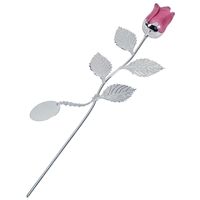 Silver Plated Rose With Pink Bud And Oval Engraving Tag