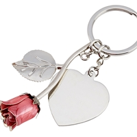 Silver Plated Pink Rose Keyring and Heart Engraving Tag