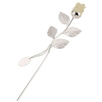 Silver Plated Rose With Ivory Bud And Oval Engraving Tag
