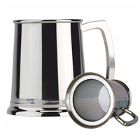 Glass Bottom One Pint Stainless Steel Tankard
