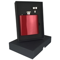 6oz Red Stainless Steel Hip Flask Set
