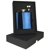6oz Blue Stainless Steel Hip Flask Set
