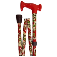 Four Fold Walking Stick Red Green Floral-Red Escort Handle