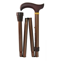 Four Fold Walking Stick Copper Wood Handle