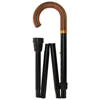 Four Fold Walking Stick Black Wood Crook Handle