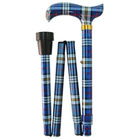 Four Fold Walking Stick Blue Check - Matching Handle