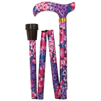 Four Fold Walking Stick Vibrant Flower-Matching Handle