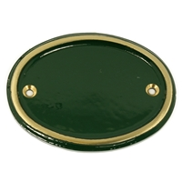 Cast Brass Small Oval Sign Green 100 x 80 mm