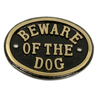 Cast Brass Beware Of The Dog Small Sign Black 100 x 80mm