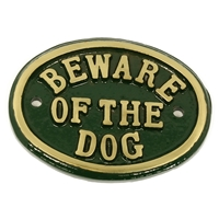 Cast Brass Beware Of The Dog Small Sign Green 100 x 80mm