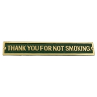 Cast Brass Thank You For Not Smoking Sign Green 248 X 41mm