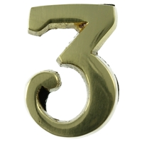 Large 51mm Brass Number 3 Self Adhesive