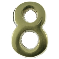 Large 51mm Brass Number 8 Self Adhesive