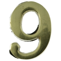 Large 51mm Brass Number 9 Self Adhesive