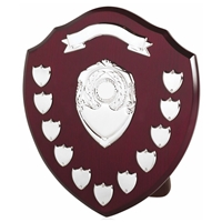 35cm Wood Shield With 11 Plates And top Ribbon