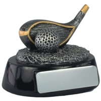 2.5 Inch Resin Golf Driver Award Antique Silver
