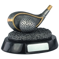 4 Inch Resin Golf Driver Award Antique Silver