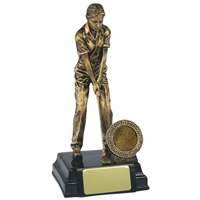 7.75 Inch Resin Female Golfer Award Antique Gold