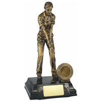 9.25 Inch Resin Female Golfer Award Antique Gold