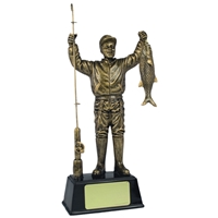 7.5 Inch Resin Fisherman Award Antique Gold