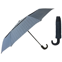 X-Strong Gents Crook Handle Auto Umbrella Twin Canopy Blue
